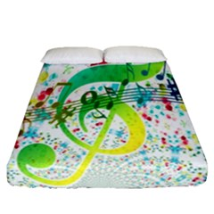 Points Circle Music Pattern Fitted Sheet (queen Size) by Nexatart