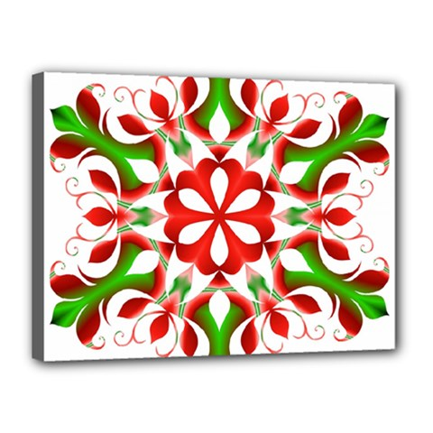 Red And Green Snowflake Canvas 16  X 12  by Nexatart