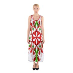 Red And Green Snowflake Sleeveless Maxi Dress
