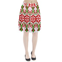 Red And Green Snowflake Pleated Skirt by Nexatart