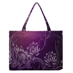 Purple Lotus Medium Zipper Tote Bag by Nexatart