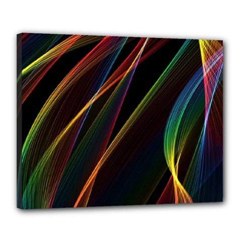 Rainbow Ribbons Canvas 20  X 16  by Nexatart