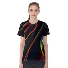 Rainbow Ribbons Women s Cotton Tee by Nexatart