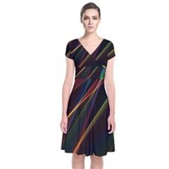 Rainbow Ribbons Short Sleeve Front Wrap Dress by Nexatart