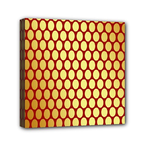 Red And Gold Effect Backing Paper Mini Canvas 6  X 6  by Nexatart
