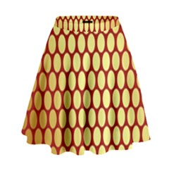Red And Gold Effect Backing Paper High Waist Skirt by Nexatart