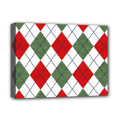 Red Green White Argyle Navy Deluxe Canvas 16  X 12