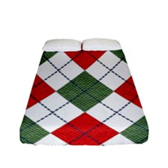 Red Green White Argyle Navy Fitted Sheet (full/ Double Size)