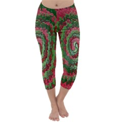 Red Green Swirl Twirl Colorful Capri Winter Leggings  by Nexatart