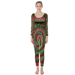 Red Green Swirl Twirl Colorful Long Sleeve Catsuit by Nexatart