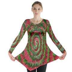 Red Green Swirl Twirl Colorful Long Sleeve Tunic  by Nexatart