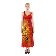 Red Silhouette Star Sleeveless Maxi Dress