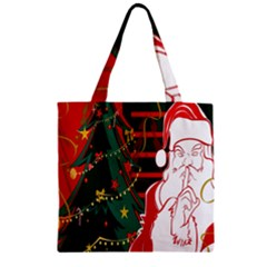 Santa Clause Xmas Zipper Grocery Tote Bag