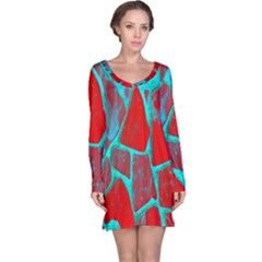 Red Marble Background Long Sleeve Nightdress