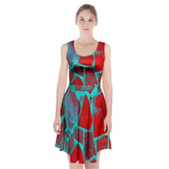 Red Marble Background Racerback Midi Dress