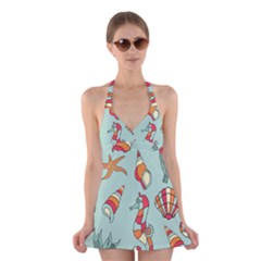 Seahorse Seashell Starfish Shell Halter Swimsuit Dress by Nexatart