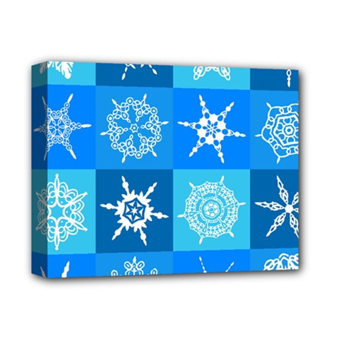 Seamless Blue Snowflake Pattern Deluxe Canvas 14  X 11  by Nexatart