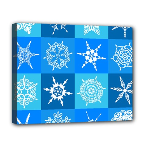 Seamless Blue Snowflake Pattern Deluxe Canvas 20  X 16