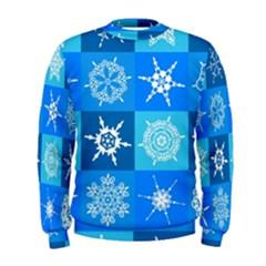 Seamless Blue Snowflake Pattern Men s Sweatshirt