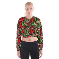 Seamless Tile Background Abstract Women s Cropped Sweatshirt by Nexatart