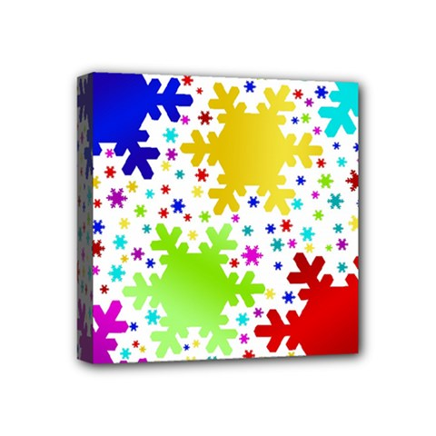 Seamless Snowflake Pattern Mini Canvas 4  X 4