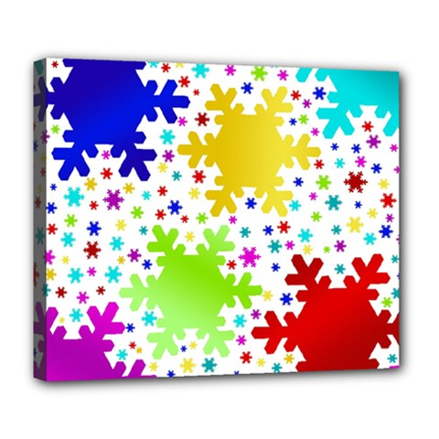 Seamless Snowflake Pattern Deluxe Canvas 24  X 20   by Nexatart