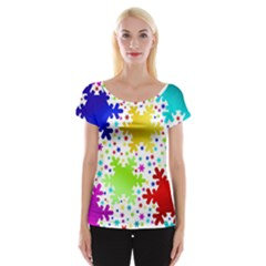Seamless Snowflake Pattern Women s Cap Sleeve Top by Nexatart