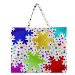 Seamless Snowflake Pattern Zipper Large Tote Bag by Nexatart