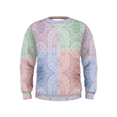 Seamless Kaleidoscope Patterns In Different Colors Based On Real Knitting Pattern Kids  Sweatshirt