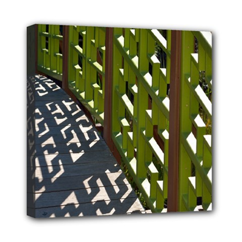 Shadow Reflections Casting From Japanese Garden Fence Mini Canvas 8  X 8