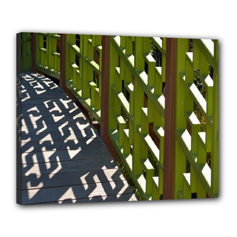 Shadow Reflections Casting From Japanese Garden Fence Canvas 20  X 16