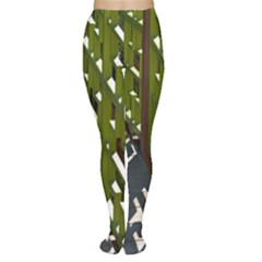Shadow Reflections Casting From Japanese Garden Fence Women s Tights by Nexatart