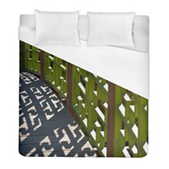 Shadow Reflections Casting From Japanese Garden Fence Duvet Cover (full/ Double Size) by Nexatart