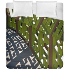 Shadow Reflections Casting From Japanese Garden Fence Duvet Cover Double Side (california King Size) by Nexatart