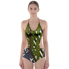 Shadow Reflections Casting From Japanese Garden Fence Cut Out One Piece Swimsuit