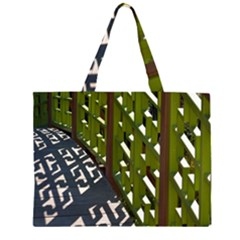 Shadow Reflections Casting From Japanese Garden Fence Large Tote Bag by Nexatart