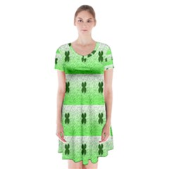 Shamrock Pattern Short Sleeve V Neck Flare Dress by Nexatart