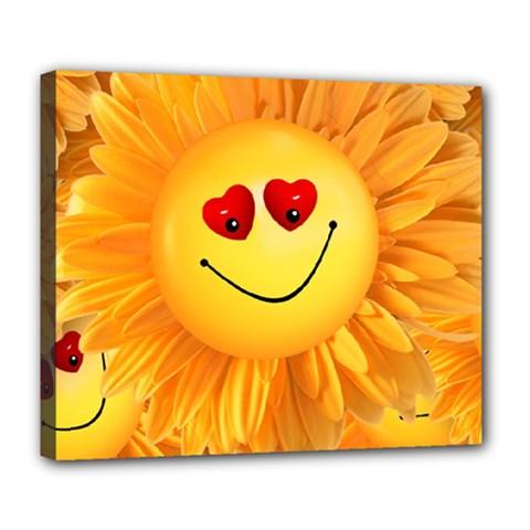 Smiley Joy Heart Love Smile Deluxe Canvas 24  X 20