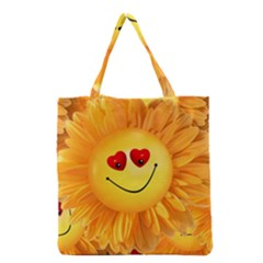 Smiley Joy Heart Love Smile Grocery Tote Bag by Nexatart