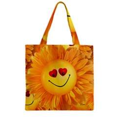 Smiley Joy Heart Love Smile Zipper Grocery Tote Bag by Nexatart