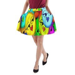 Smiley Girl Lesbian Community A-Line Pocket Skirt by Nexatart