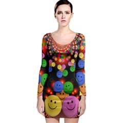 Smiley Laugh Funny Cheerful Long Sleeve Bodycon Dress