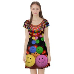 Smiley Laugh Funny Cheerful Short Sleeve Skater Dress