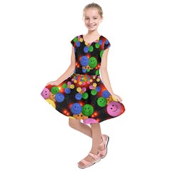 Smiley Laugh Funny Cheerful Kids  Short Sleeve Dress by Nexatart