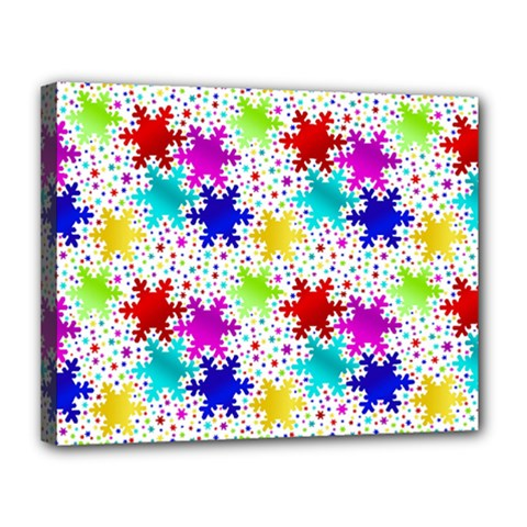 Snowflake Pattern Repeated Canvas 14  X 11  by Nexatart