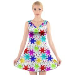 Snowflake Pattern Repeated V Neck Sleeveless Skater Dress by Nexatart