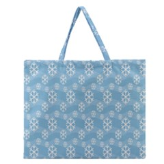 Snowflakes Winter Christmas Zipper Large Tote Bag by Nexatart