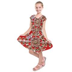 Snowflake Jeweled Kids  Short Sleeve Dress by Nexatart