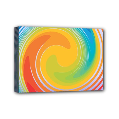 Rainbow Swirl Mini Canvas 7  X 5