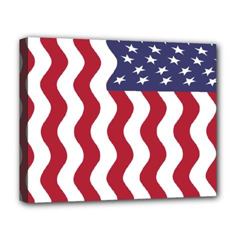 American Flag Deluxe Canvas 20  X 16   by OneStopGiftShop
